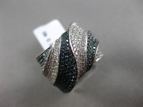 ESTATE X LARGE 1.72CT WHITE & BLUE DIAMOND 14K WHITE GOLD CRISS CROSS FANCY RING