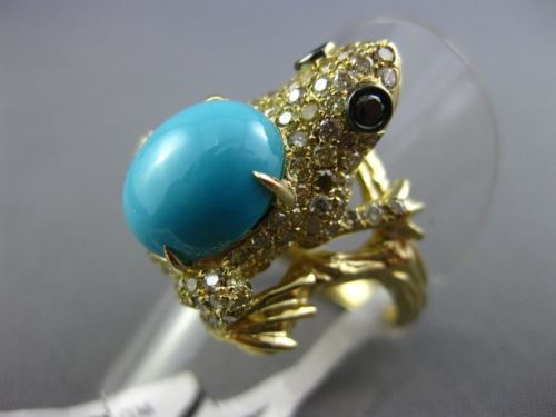 LARGE 4.13CT WHITE & BLACK DIAMOND & TURQUOISE 18K WHITE GOLD 3D HAPPY FROG RING
