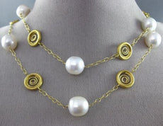 ESTATE LARGE & LONG 14KT YELLOW GOLD SOUTH SEA PEARL BY THE YARD CIRCLE NECKLACE