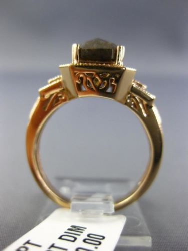 LARGE 1.68CT WHITE & CHOCOLATE FANCY DIAMOND 18KT ROSE GOLD HALO ENGAGEMENT RING