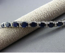 ESTATE 12.83CT DIAMOND & AAA EXTRA FACET SAPPHIRE 18K WHITE GOLD TENNIS BRACELET