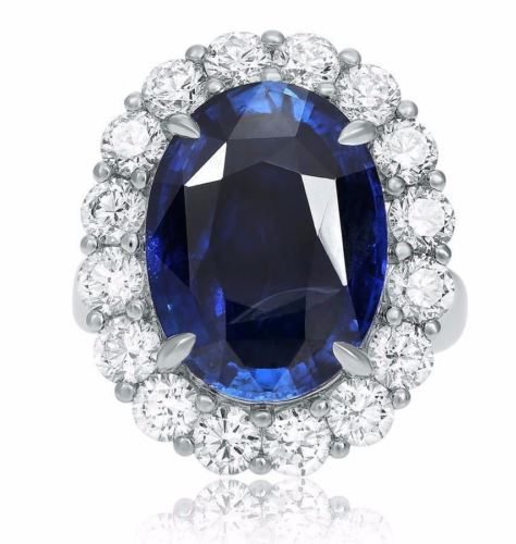 LARGE GIA CERTIFIED 14.94CT DIAMOND & AAA SAPPHIRE PLATINUM HALO ENGAGEMENT RING