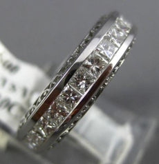 WIDE 2.10CT PRINCESS DIAMOND 14KT WHITE GOLD FILIGREE ETERNITY WEDDING RING 1349