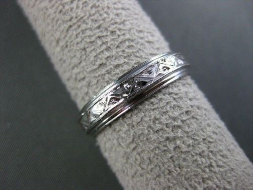 ANTIQUE FILIGREE HAND CRAFTED 14KT WHITE GOLD WEDDING RING STUNNING! #1060