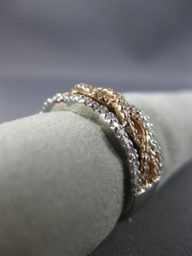 WIDE .59CT DIAMOND 14KT WHITE & ROSE GOLD 3D MULTI ROW INFINITY ANNIVERSARY RING