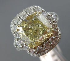 LARGE 5.20CT WHITE & FANCY YELLOW CUSHION DIAMOND 14K WHITE GOLD ENGAGEMENT RING