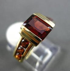 ESTATE 2.20CT DIAMOND & AAA GARNET 14K YELLOW GOLD 3D SEMI BEZEL ENGAGEMENT RING
