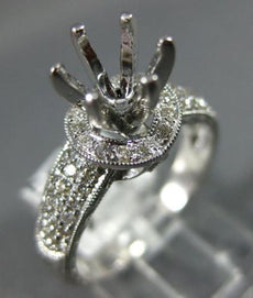 WIDE .50CT DIAMOND 14KT WHITE GOLD 3D 6 PRONG SEMI MOUNT HALO ENGAGEMENT RING