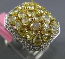 ESTATE MASSIVE 5.43CT WHITE FANCY YELLOW DIAMOND 18KT GOLD OCTAGON COCKTAIL RING