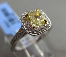 ESTATE 1.06CT GIA FANCY YELLOW DIAMOND 18KT WHITE GOLD HALO 3D ENGAGEMENT RING
