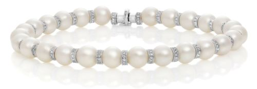 ESTATE .88CT DIAMOND & AAA PEARLS 18KT WHITE GOLD 3D BY THE YARD TENNIS BRACELET