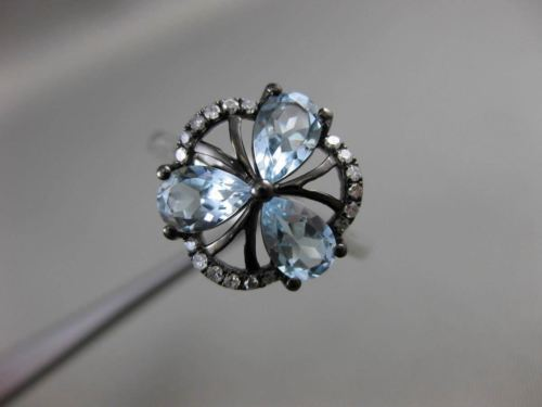 ANTIQUE 1.75CT DIAMOND & BLUE TOPAZ 18K TWO TONE GOLD 3 PEDAL 3D FLOWER FUN RING