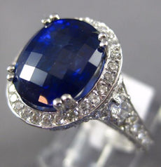 ESTATE LARGE 9.14CT DIAMOND & AAA SAPPHIRES 14KT WHITE GOLD OVAL ENGAGEMENT RING
