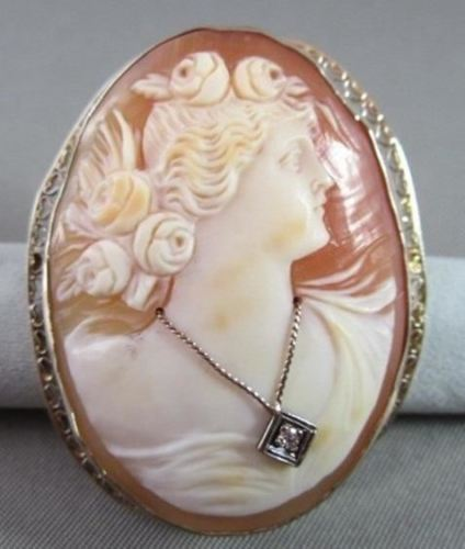 LARGE ANTIQUE OLD MINE 14KT WHITE GOLD FILIGREE LADY CAMEO PIN BROOCH #21732