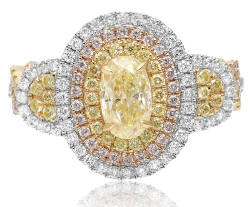 LARGE 2.1CT WHITE PINK & FANCY YELLOW DIAMOND 18K TRI COLOR GOLD ENGAGEMENT RING