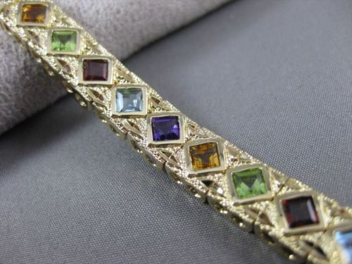 ESTATE WIDE & LONG 7.50CT AAA MULTI GEM 14K YELLOW GOLD FILIGREE BRACELET #20556
