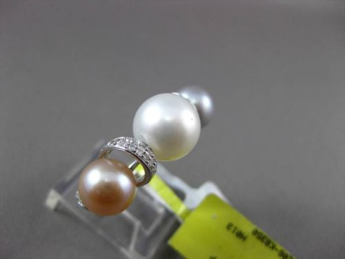 ANTIQUE .18CT DIAMOND 18KT WHITE GOLD AAA TRI COLOR NATURAL SOUTH SEA PEARL RING