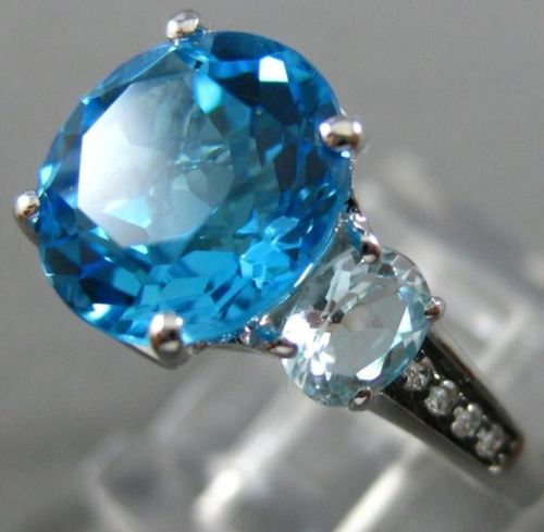 17.63CT CHOCOLATE FANCY DIAMOND & AAA BLUE TOPAZ 14KT WHITE GOLD ENGAGEMENT RING