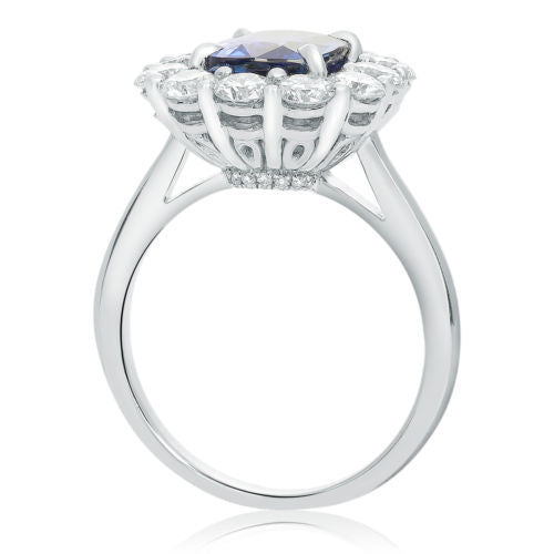 LARGE 5.11CT DIAMOND & AAA CASHMERE SAPPHIRE 18KT WHITE GOLD 3D ENGAGEMENT RING