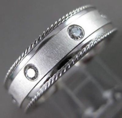 ESTATE WIDE .40CT DIAMOND 14K WHITE GOLD ETOILE ETERNITY SOLID MENS RING #19670
