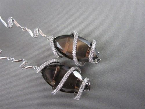 ESTATE WIDE MARQUISE 12.4CT AAA SMOKEY TOPAZ & DIAMOND 18KT W GOLD DROP EARRINGS