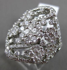 ESTATE MASSIVE 2.55CT DIAMOND 18K WHITE GOLD MULTI FLOWER FILIGREE COCKTAIL RING