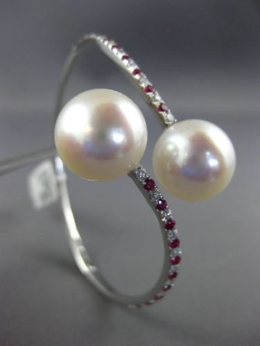 LARGE 1.1CT DIAMOND & AAA RUBY SOUTH SEA PEARL 18K WHITE GOLD 3D BANGLE BRACELET