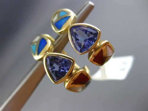 ESTATE 1.41CT TANZANITE & AUSTRALIAN OPAL ONYX 14K YELLOW GOLD UMBRELLA EARRINGS