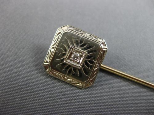 ANTIQUE .03CT OLD MINE DIAMOND 14KT 2 TONE GOLD OCTAGON FILIGREE LAPEL PIN 26194