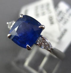 ESTATE LARGE GIA 5.60CT DIAMOND & AAA CUSHION SAPPHIRE PLATINUM ENGAGEMENT RING