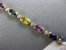 ESTATE 13.19CT DIAMOND & MULTI COLOR SAPPHIRE 18KT 2 TONE GOLD TENNIS BRACELET