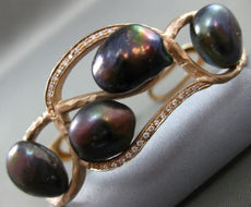 ANTIQUE LARGE .25CT DIAMOND & AAA TAHITIAN PEARL 14KT ROSE GOLD BAMBOO BRACELET