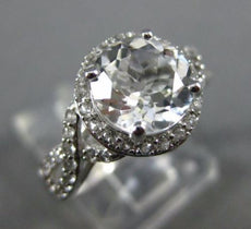 ESTATE 2.93CT AAA WHITE TOPAZ 14KT WHITE GOLD 3D INFINITY LOVE ENGAGEMENT RING