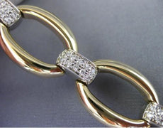 ESTATE WIDE & LONG .66CT DIAMOND 14KT WHITE & YELLOW GOLD 3D OVAL LINK BRACELET