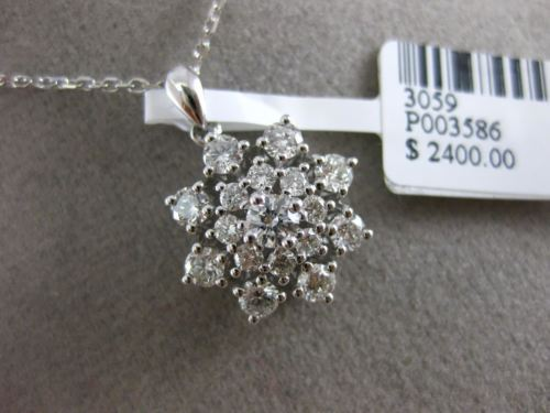 ESTATE LARGE .84CT DIAMOND 18KT WHITE GOLD 3D CLUSTER FLOWER FLOATING PENDANT
