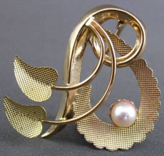 ANTIQUE 18KT ROSE & YELLOW GOLD AAA SOUTH SEA PEARL 3D PIN / BROOCH #23698