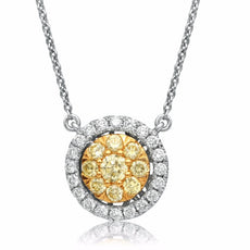 ESTATE .69CT WHITE & FANCY YELLOW DIAMOND 14K 2 TONE GOLD ROUND CLUSTER NECKLACE