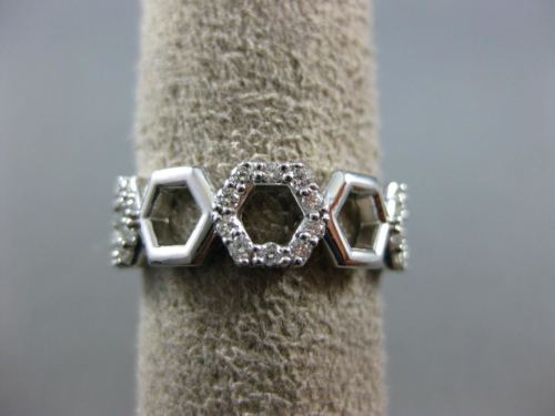 ESTATE WIDE .30CT DIAMOND 14KT WHITE GOLD 3D OPEN HEXAGON INFINITY LOVE FUN RING