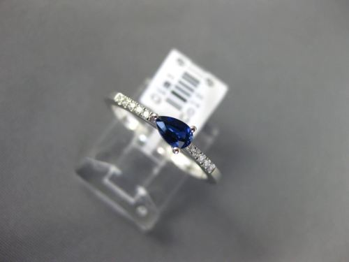 .37CT DIAMOND & AAA PEAR SHAPE SAPPHIRE 14KT WHITE GOLD 3D CLASSIC PROMISE RING