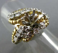 ESTATE LARGE 1.25CT DIAMOND 14KT TWO TONE GOLD 3D HEART SHAPE SEMI MOUNT RING