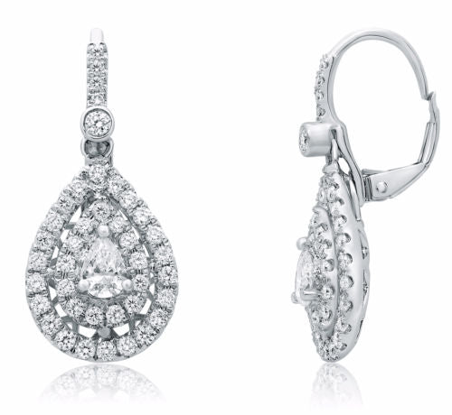 ESTATE 1.40CT DIAMOND 14KT WHITE GOLD 3D DOUBLE HALO LEVERBACK HANGING EARRINGS