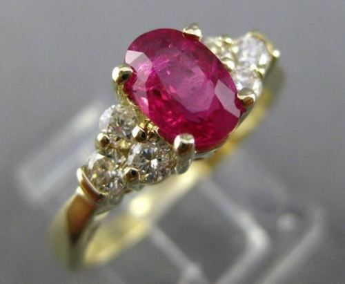 ESTATE 1.39CT DIAMOND & AAA RUBY 14K YELLOW GOLD 3D CLASSIC ENGAGEMENT RING 2450