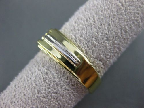ESTATE WIDE .30CT DIAMOND 14KT TWO TONE GOLD SQUARE 3 STONE GYPSY RING #10911