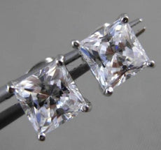 ESTATE LARGE 14KT WHITE GOLD FILIGREE CUBIC ZIRCONIA SQUARE STUD EARRINGS #24257