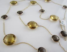ANTIQUE LONG 125CT SMOKEY TOPAZ CITRINE 14K Y NECKLACE