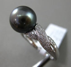 ESTATE .28CT DIAMOND 14KT WHITE GOLD 3D AAA TAHITIAN PEARL CRISS CROSS LOVE RING