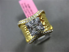 LARGE 1.13CT ROUND & BAGUETTE DIAMOND 18KT 2 TONE GOLD 3D HAMMERED PROMISE RING