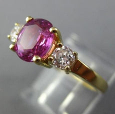 ESTATE 2.98CT DIAMOND & PINK SAPPHIRE 14KT YELLOW GOLD 3D ENGAGEMENT RING 26003