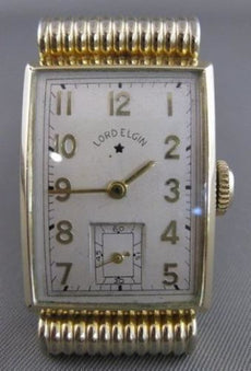 ANTIQUE LORD ELGIN 14KT GOLD GF MENS RECTANGLE WATCH PERFECT CONDITION #20802