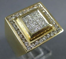 ESTATE EXTRA LARGE 1.82CT DIAMOND 14K YELLOW GOLD 3D SQUARE INVISIBLE MEN'S RING